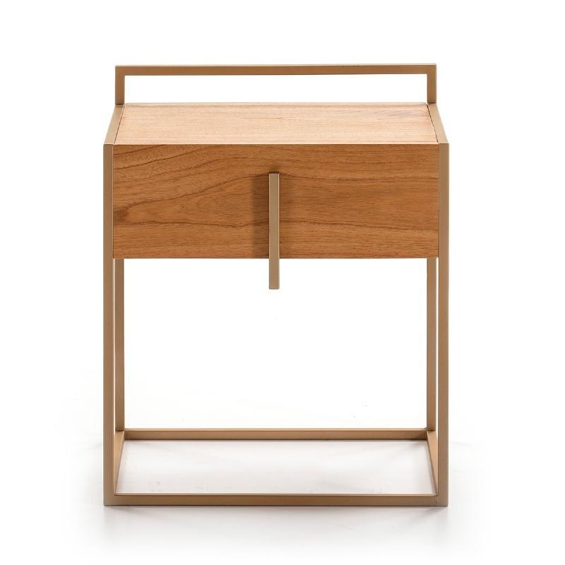 Bedside Table 1 Drawer 50X40X60 Wood Natural Metal Golden - image 51330
