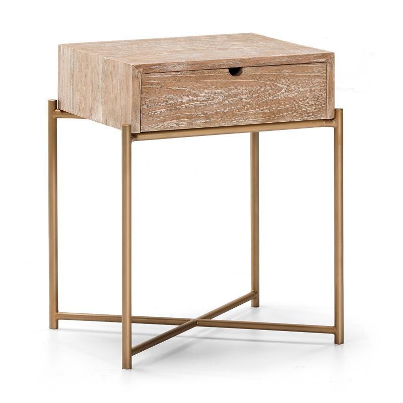 Table de chevet 1 tiroir 50x40x62 Bois Blanc blanchi Métal Doré - image 51331