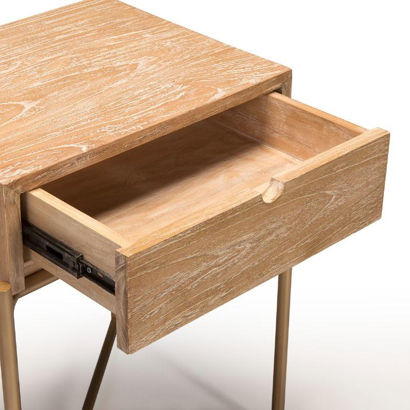 Table de chevet 1 tiroir 50x40x62 Bois Blanc blanchi Métal Doré - image 51332
