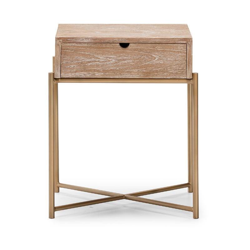 Table de chevet 1 tiroir 50x40x62 Bois Blanc blanchi Métal Doré - image 51334