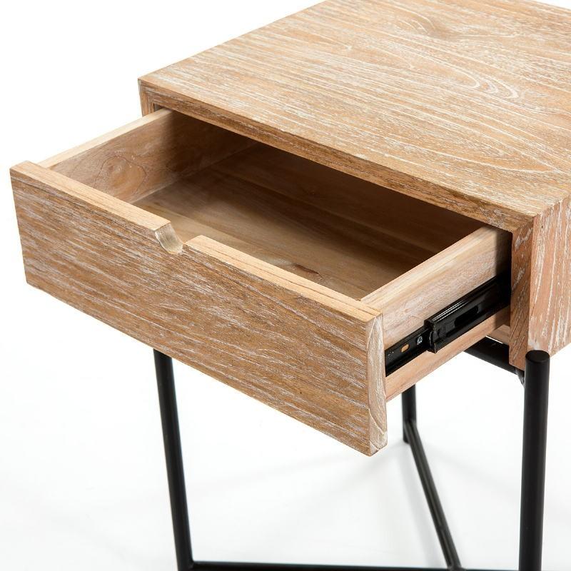 Bedside Table 1 Drawer 50X40X62 Wood White Washed Metal Black - image 51336