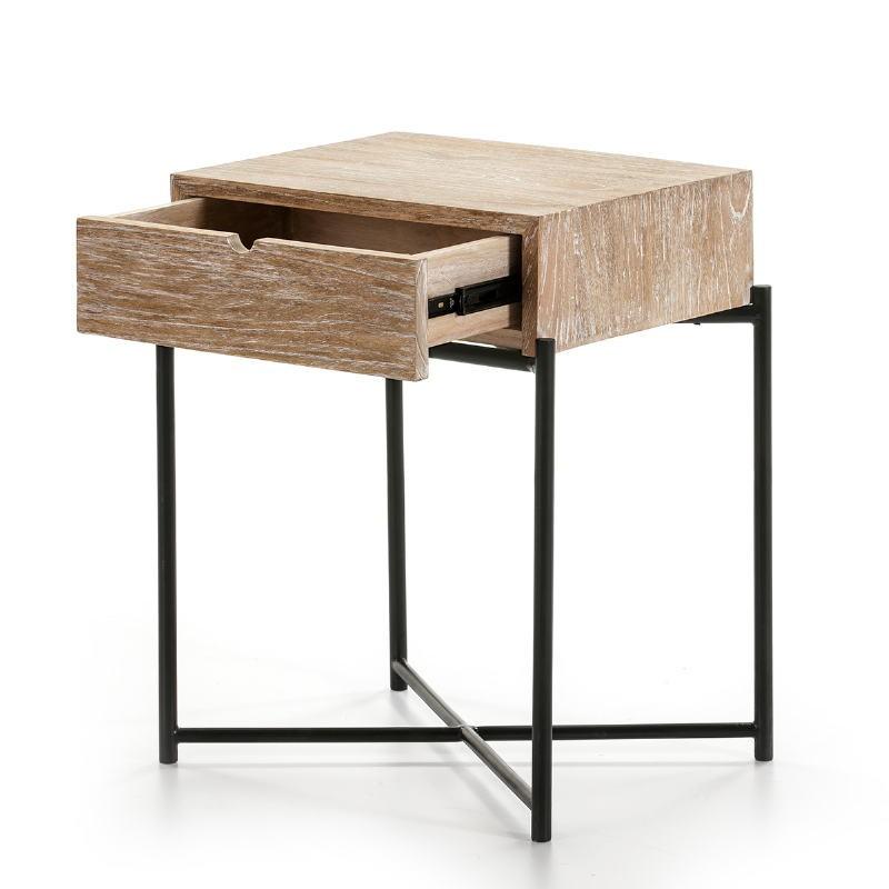Bedside Table 1 Drawer 50X40X62 Wood White Washed Metal Black - image 51337