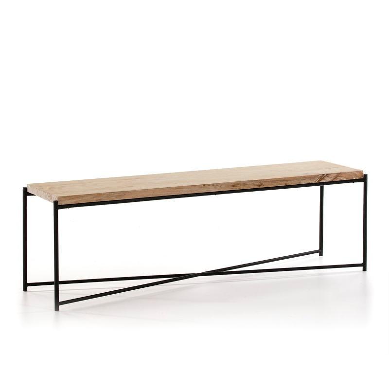 Tv Furniture 160X40X50 Wood White Washed Metal Black - image 51350