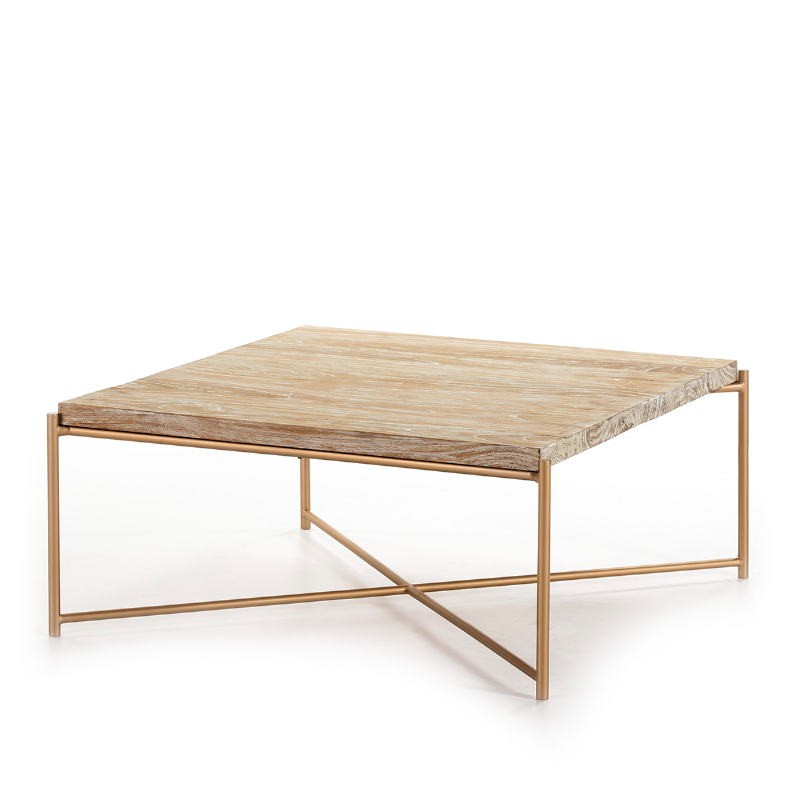 Coffee Table 90X90X40 Wood White Washed Metal Golden
