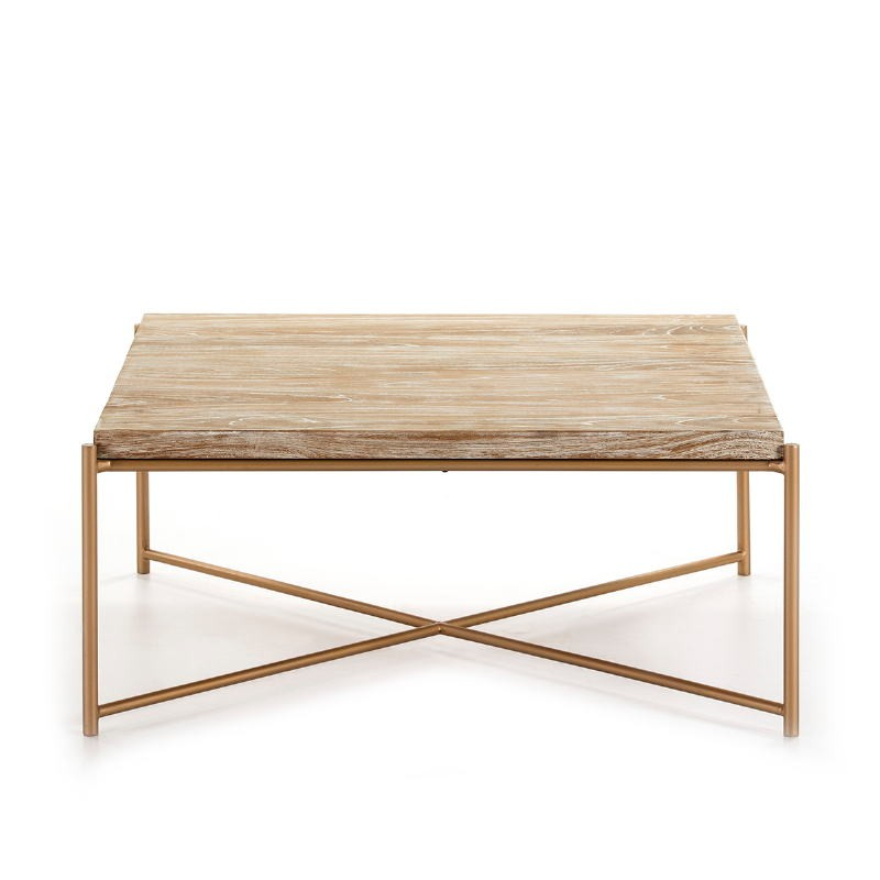 Coffee Table 90X90X40 Wood White Washed Metal Golden - image 51355