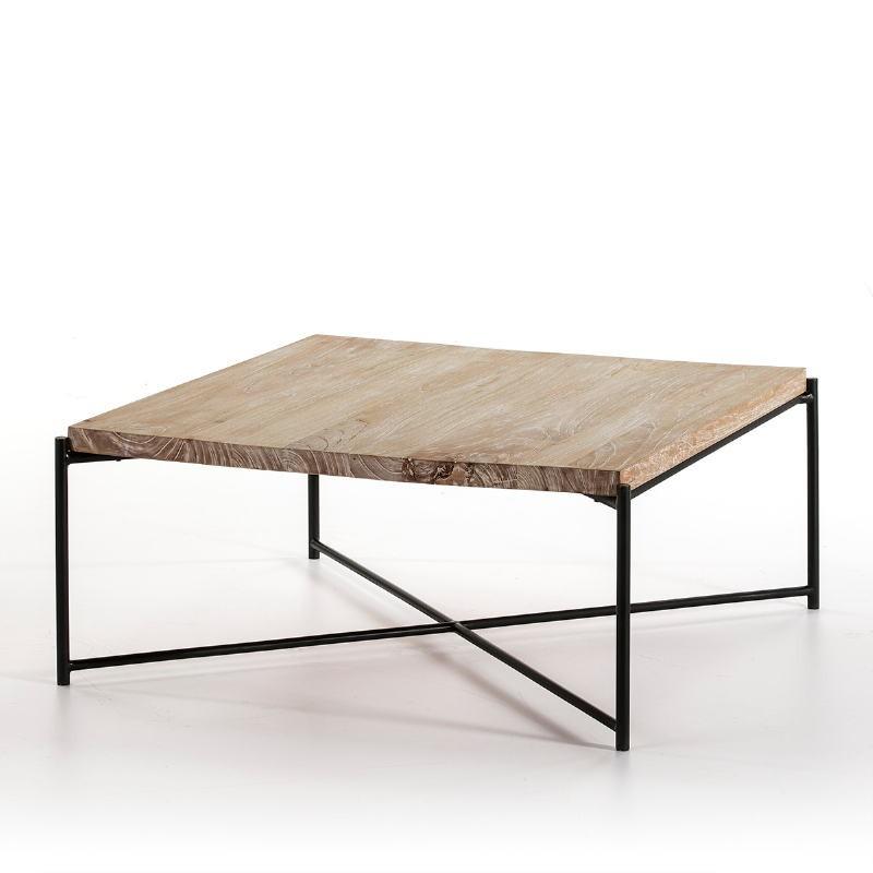Coffee Table 90X90X40 Wood White Washed Metal Black