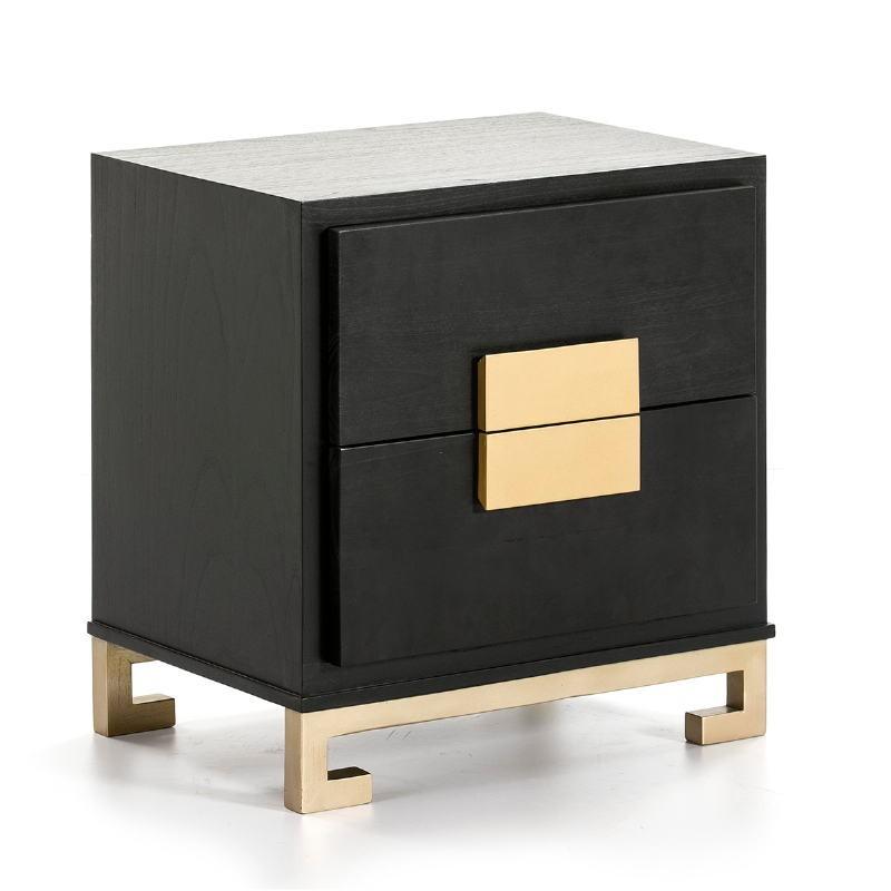 Table de chevet 2 tiroirs 56x41x60 Bois Noir Doré