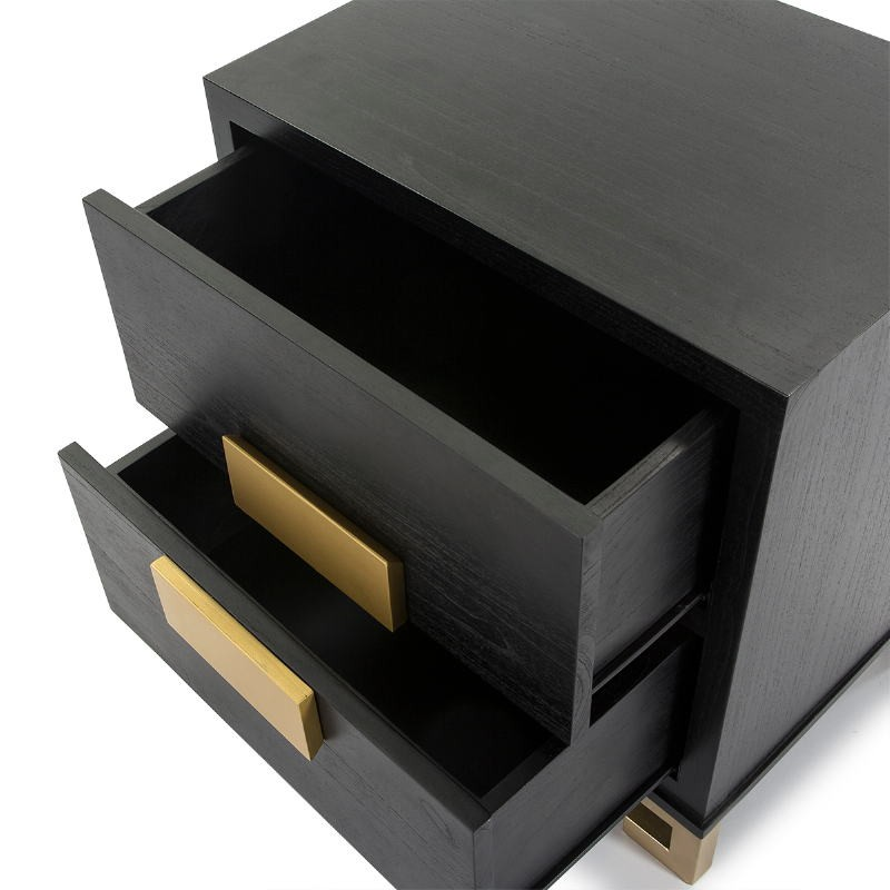 Table de chevet 2 tiroirs 56x41x60 Bois Noir Doré - image 51365