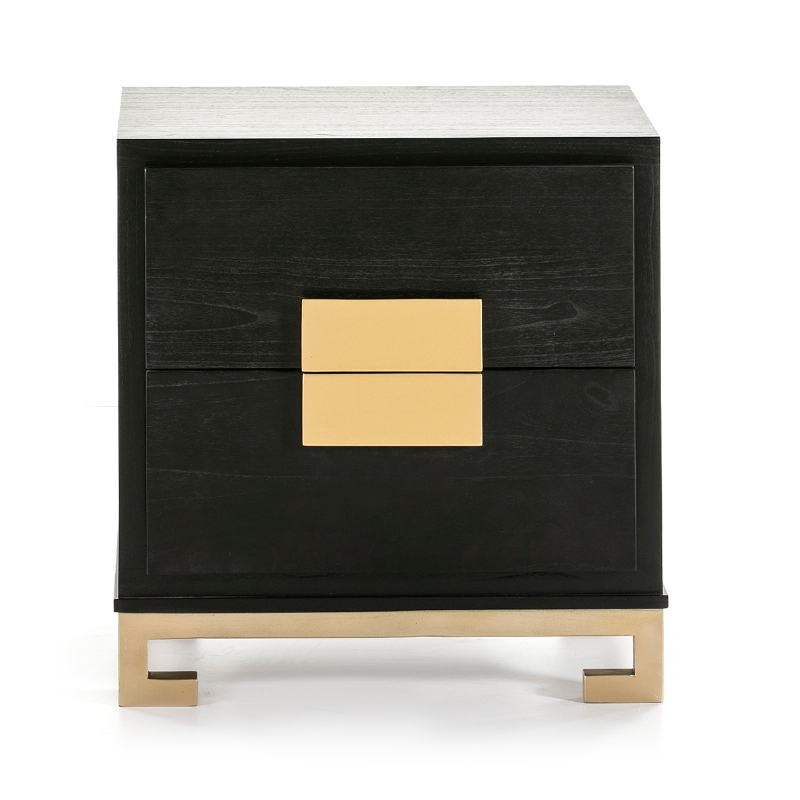 Bedside Table 2 Drawers 56X41X60 Wood Black Golden - image 51367