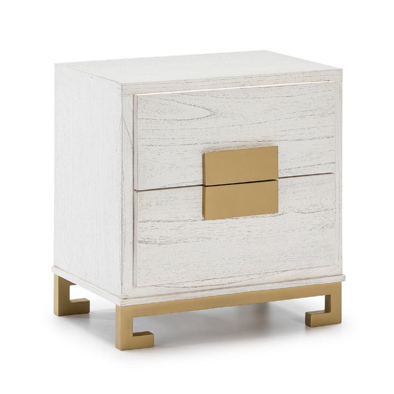Bedside Table 2 Drawers 56X41X60 Wood White Golden - image 51368