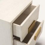 Nachttisch 2 Schubladen 56X41X60 Golden White Wood