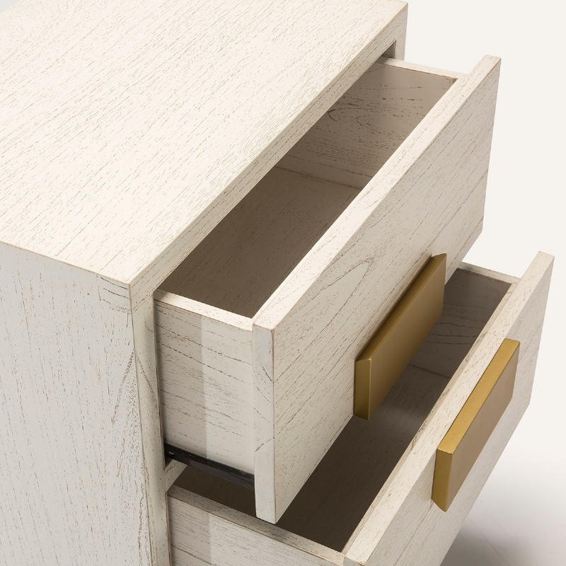 Bedside Table 2 Drawers 56X41X60 Wood White Golden - image 51369