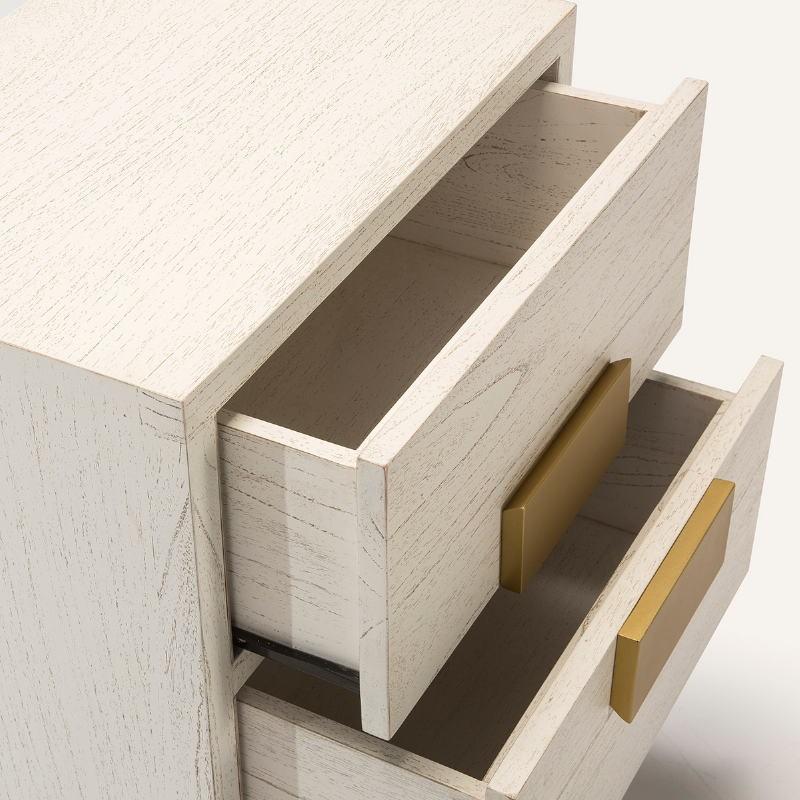 Table de chevet 2 tiroirs 56x41x60 Bois Blanc Doré - image 51369