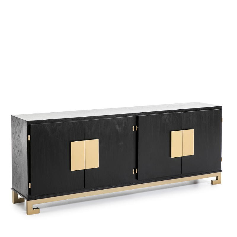 Sideboard 4 Doors 201X43X78 Wood Black Golden