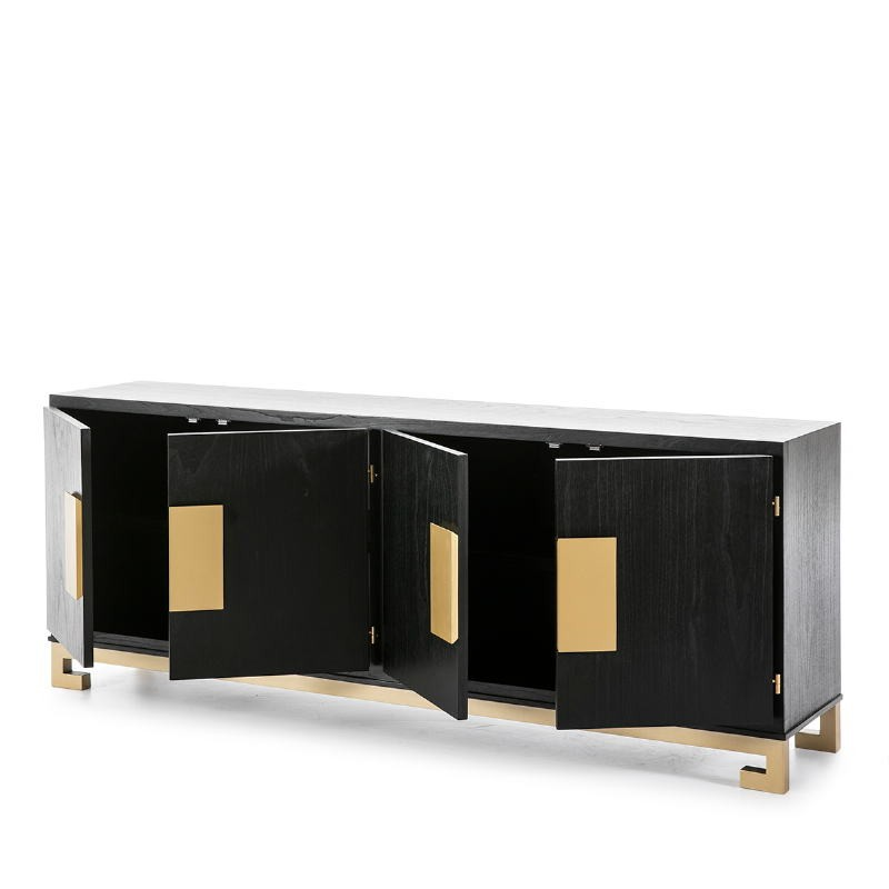 Sideboard 4 Doors 201X43X78 Wood Black Golden - image 51377