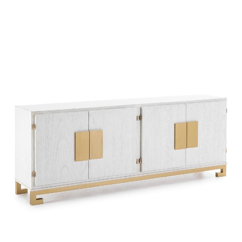 Sideboard 4 Doors 201X43X78 Wood White Golden