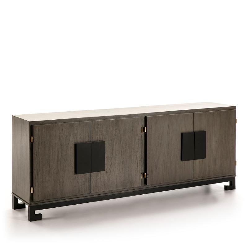 Sideboard 4 Doors 201X43X78 Wood Grey Black