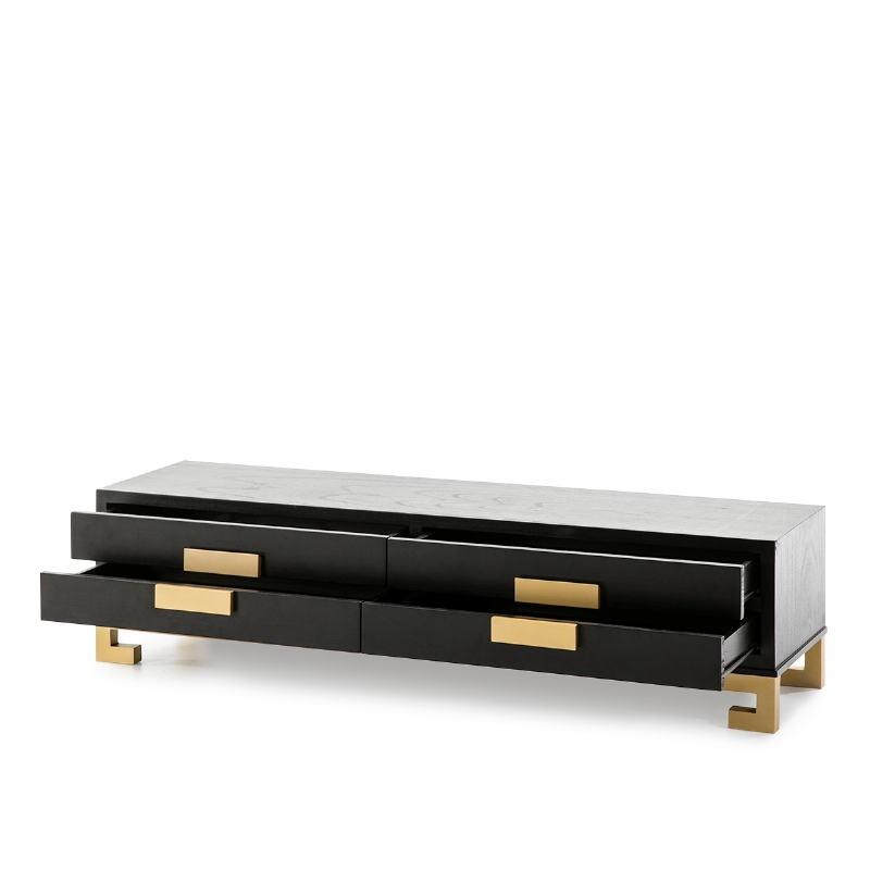 Tv Furniture 4 Drawers 161X45X45 Wood Black Golden - image 51389