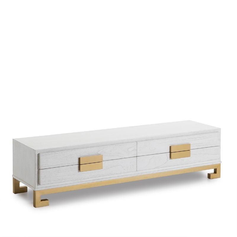Mueble Tv 4 Cajones 161X45X45 Madera Blanco Dorado