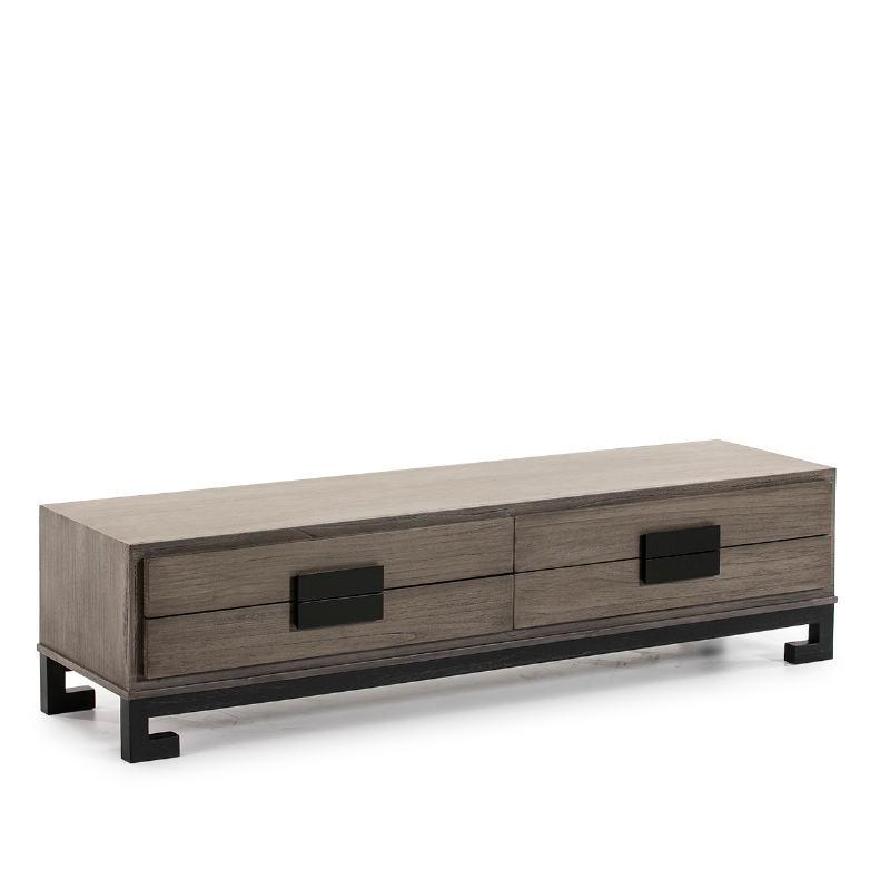 Meuble TV 4 tiroirs 161x45x45 Bois Gris Noir - image 51395