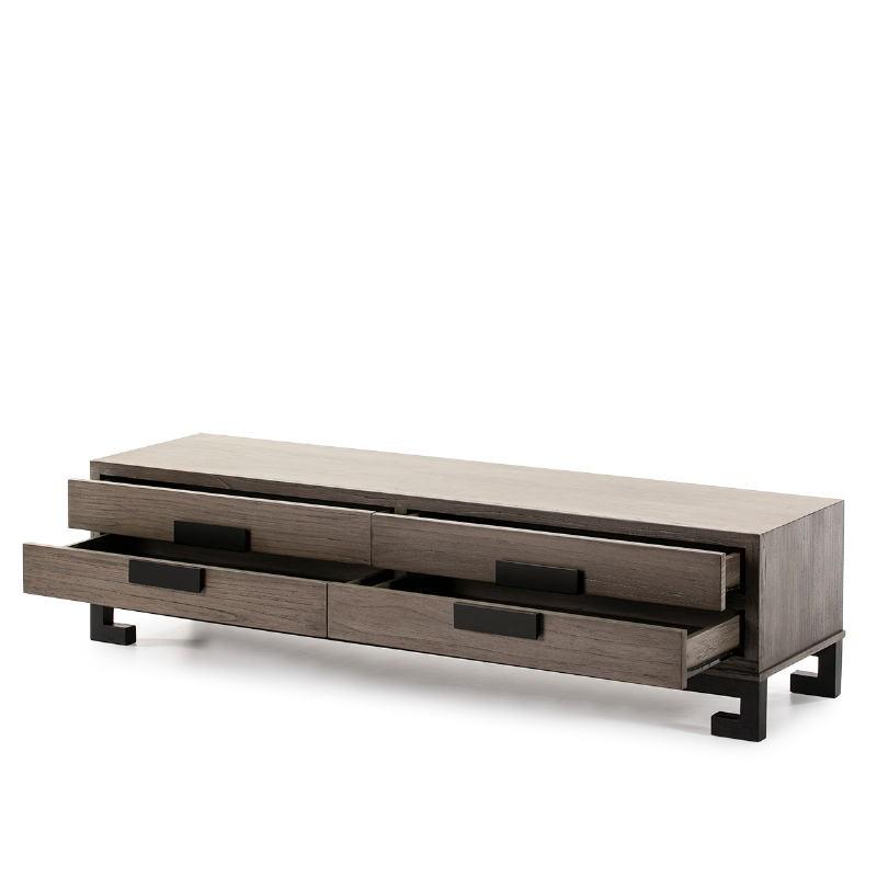 Meuble TV 4 tiroirs 161x45x45 Bois Gris Noir - image 51397