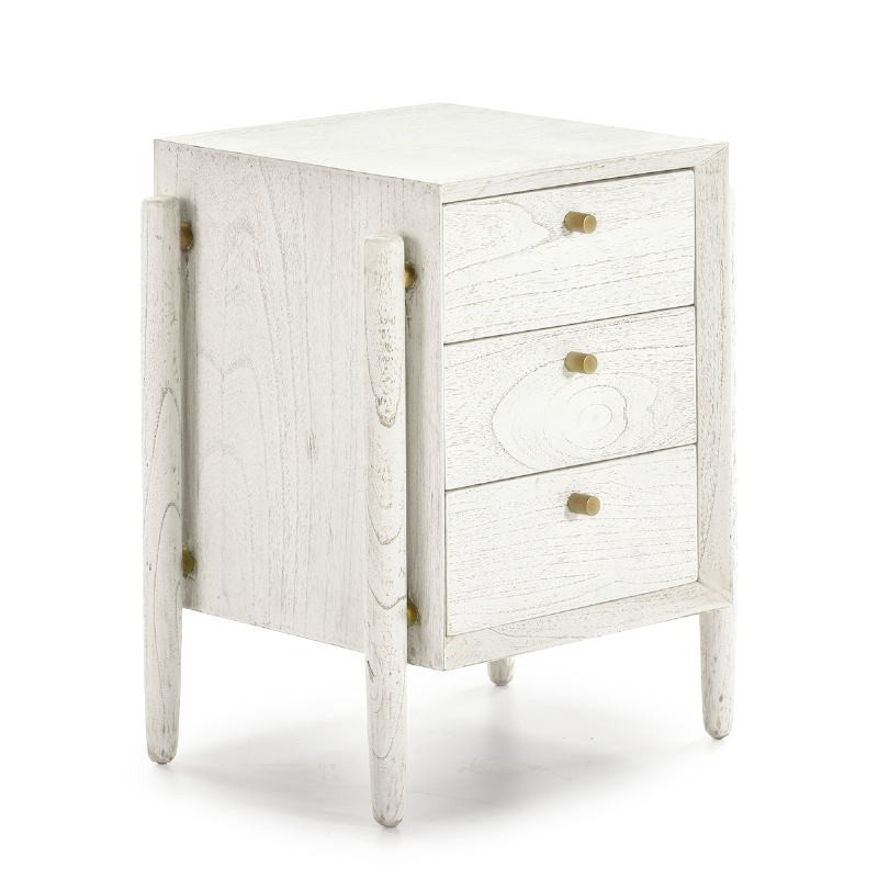 Bedside Table 3 Drawers 50X40X61 Wood White - image 51399