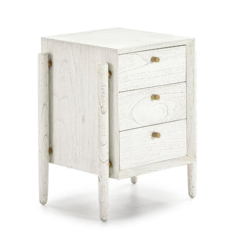 Table de chevet 3 tiroirs 50x40x61 Bois Blanc - image 51399