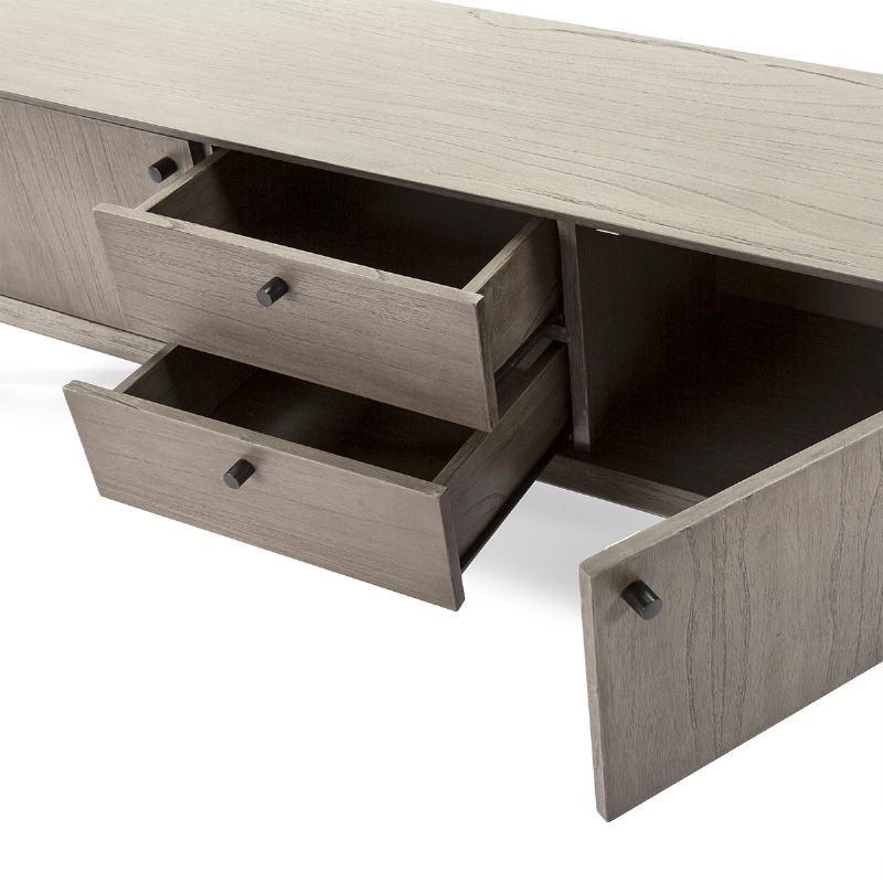 Meuble TV 2 portes 2 tiroirs 160x40x50 Bois Gris Noir - image 51408
