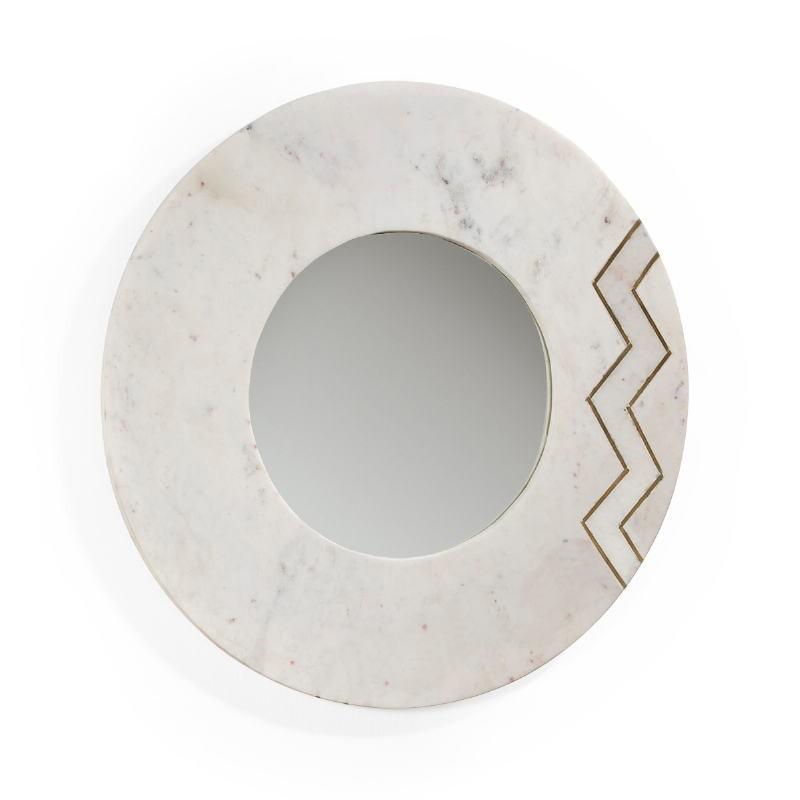 Miroir 69x2x69 Verre Marbre Blanc Métal Doré - image 51436