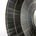 Espejo 114X2X114 Cristal Metal Negro Dorado