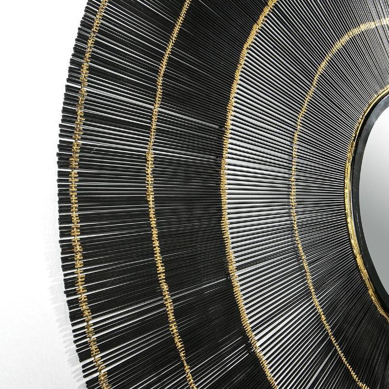 Specchio 114X2X114 Vetro Metallo Nero Dorato - image 51440