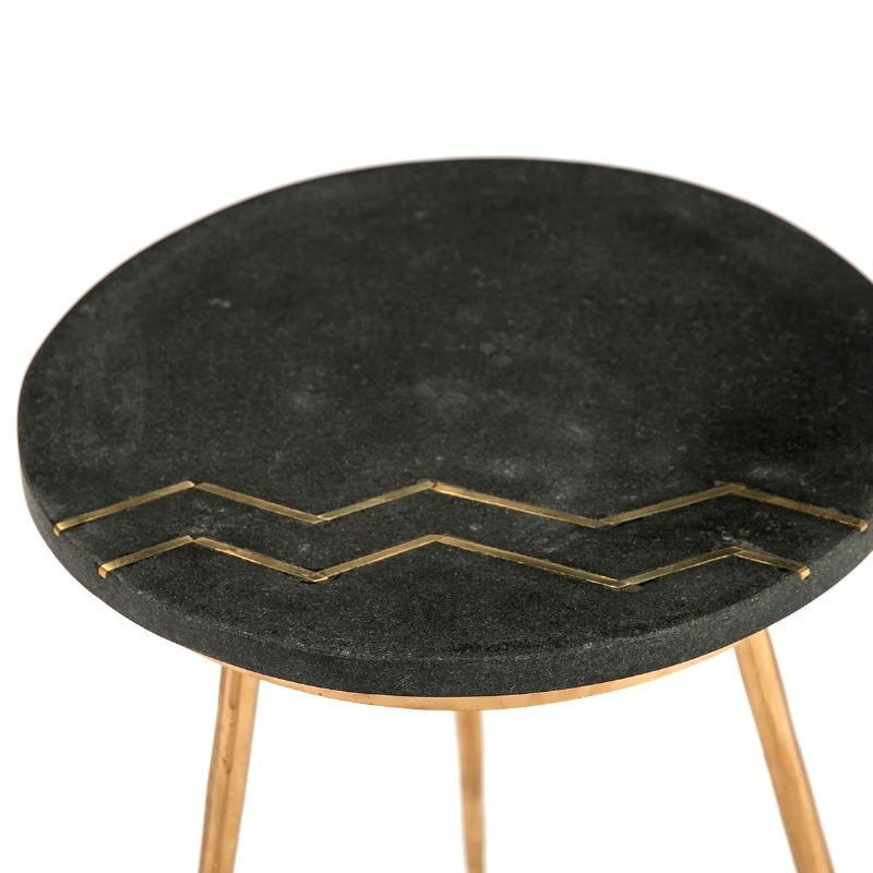 Side Table 37X37X50 Granite Black Metal Golden - image 51449