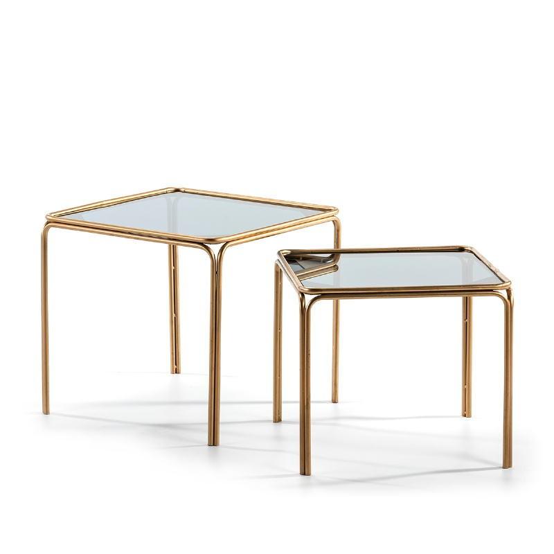 Set 2 Side Table 51X51X47   46X46X41 Smoked Glass Metal Golden