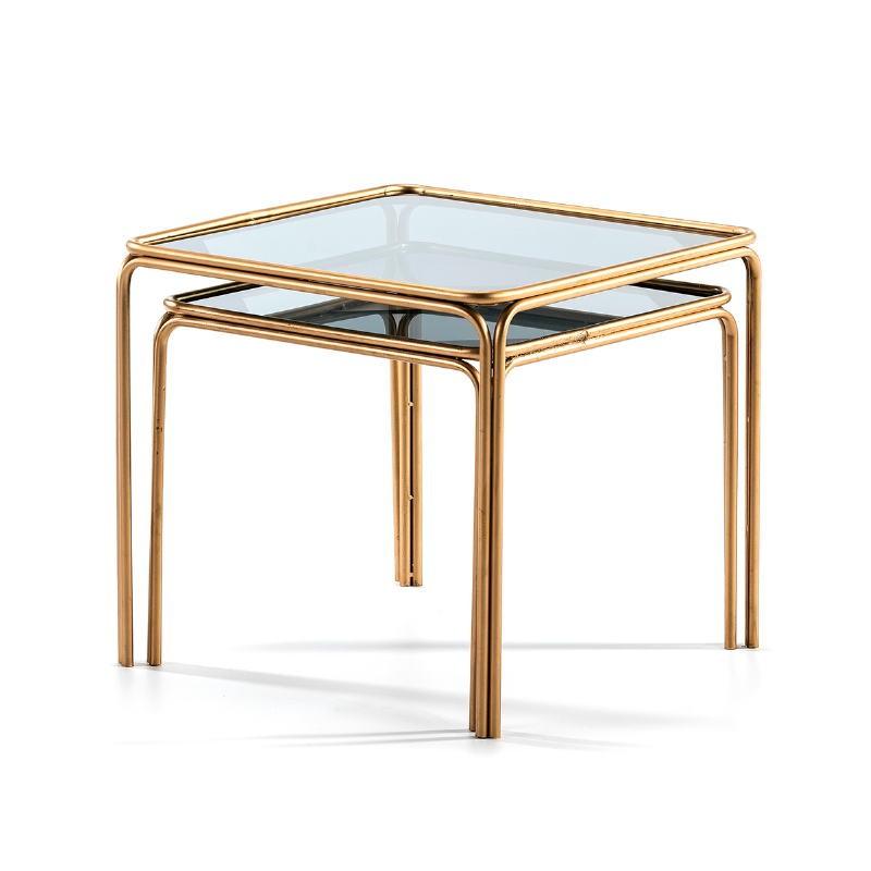 Set 2 Table d'appoint, bout de canapé 51x51x47   46x46x41 Verre fumé Métal Doré - image 51452