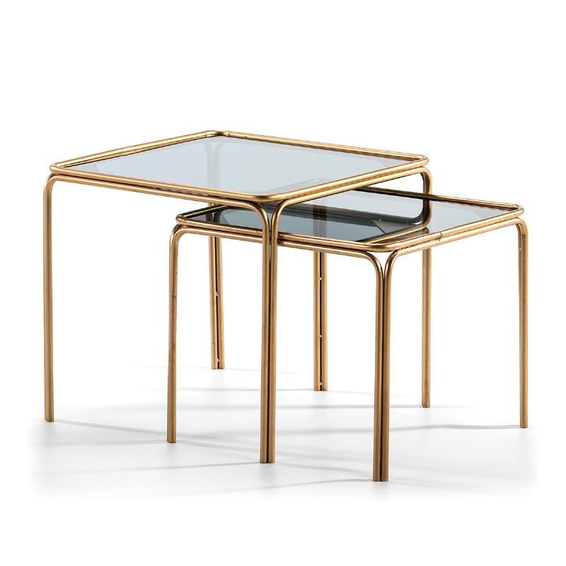 Set 2 Table d'appoint, bout de canapé 51x51x47   46x46x41 Verre fumé Métal Doré - image 51453