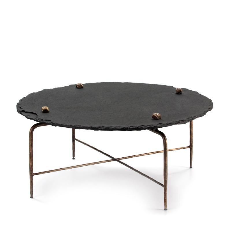 Table basse 92x92x40 Pierre Noir Métal Doré Antique
