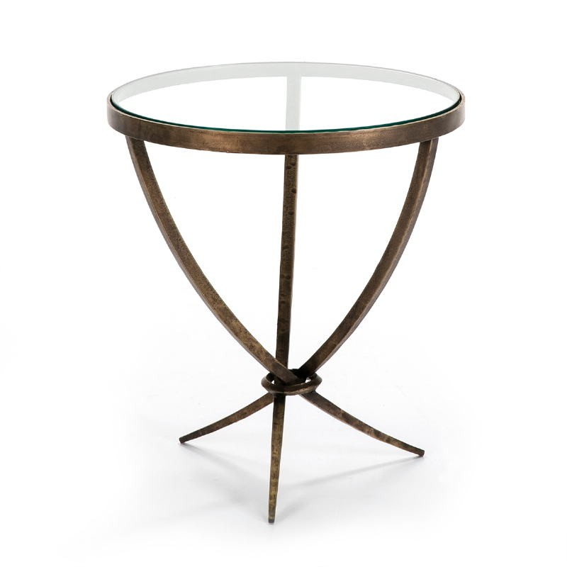 Side Table 51X51X56 Glass Metal Golden Antique - image 51457