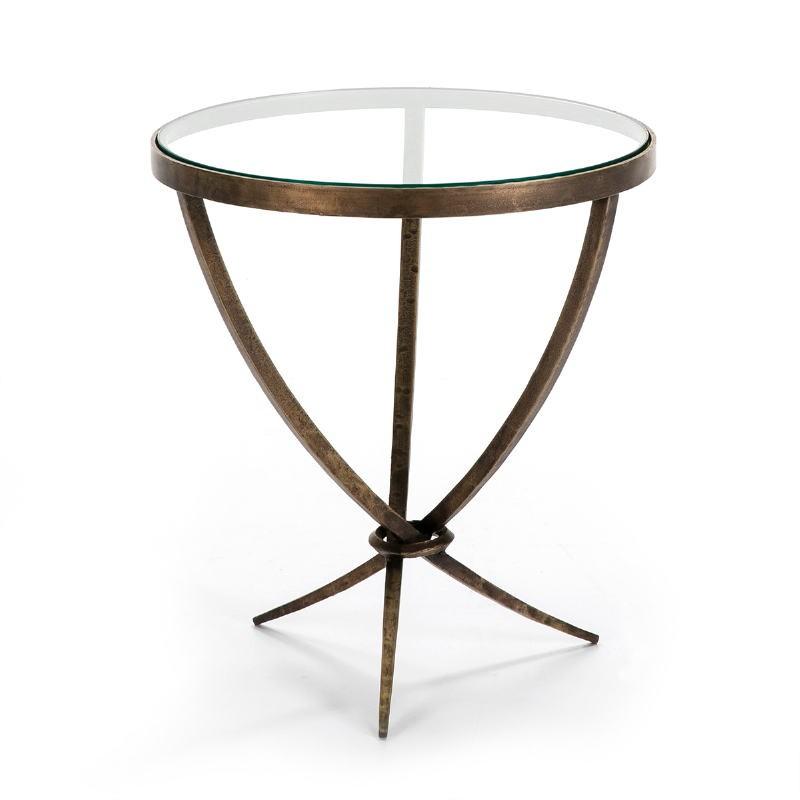 Table d'appoint, bout de canapé, bout de canapé 51x51x56 Verre Métal Doré Antique - image 51457