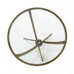 Tavolo Ausiliare 51X51X56 Vetro Metallo Dorato Antique