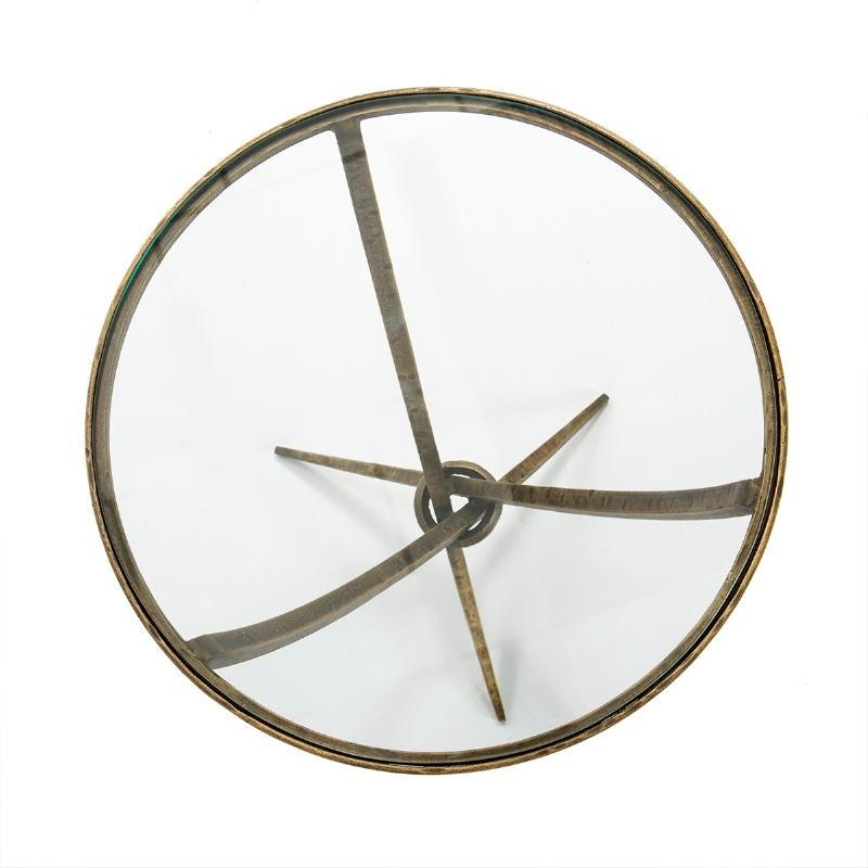 Tavolo Ausiliare 51X51X56 Vetro Metallo Dorato Antique - image 51459