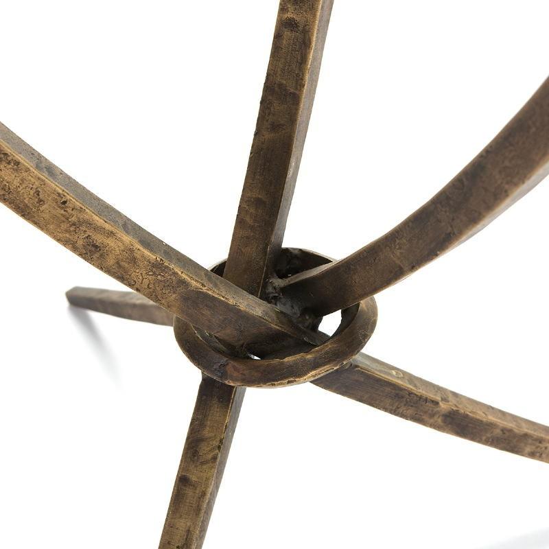 Table d'appoint, bout de canapé, bout de canapé 51x51x56 Verre Métal Doré Antique - image 51460