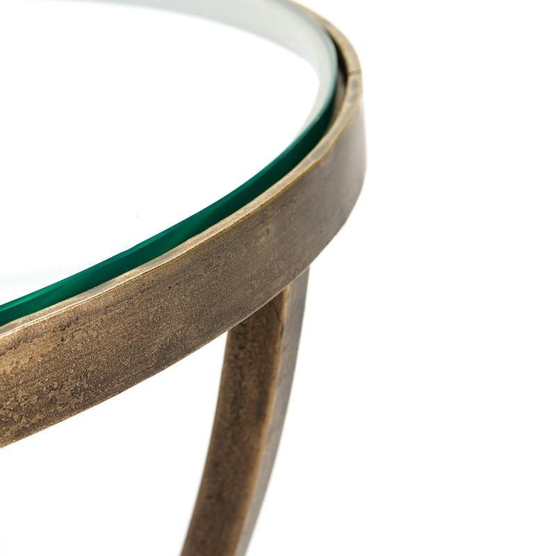 Hilfstisch 51X51X56 Glas/Metall Goldene Antike - image 51461