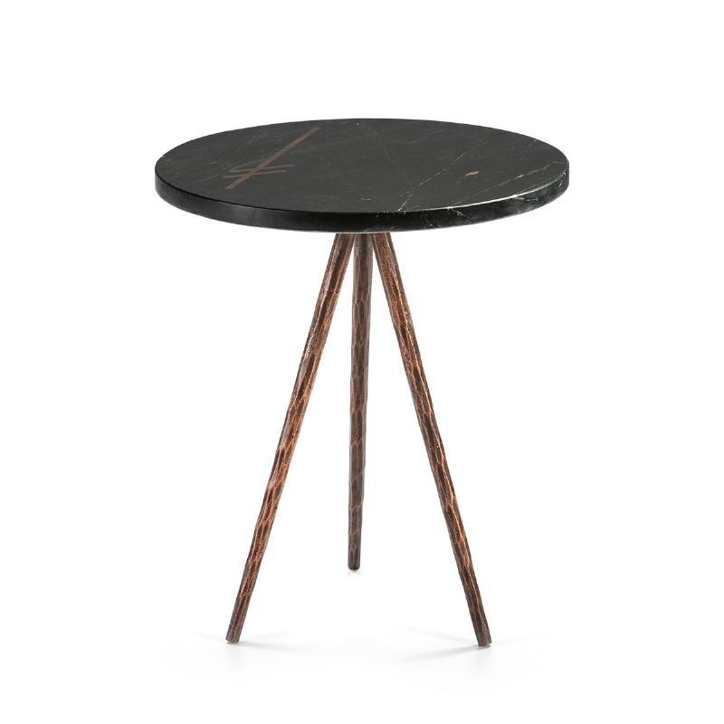 Table d'appoint, bout de canapé, bout de canapé 41x41x46 Marbre Noir Métal Doré Antique - image 51462