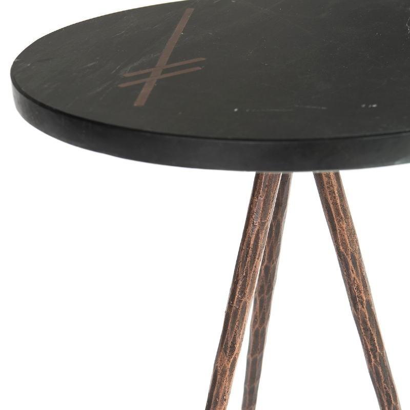 Table d'appoint, bout de canapé, bout de canapé 41x41x46 Marbre Noir Métal Doré Antique - image 51465