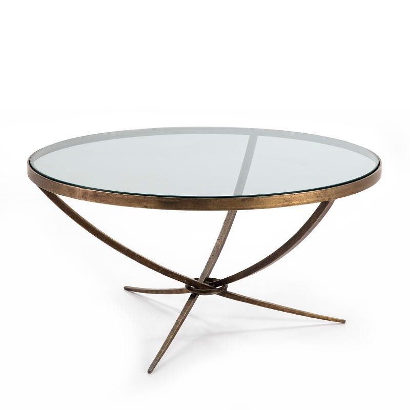 Coffee Table 92X92X47 Glass Metal Golden Antique
