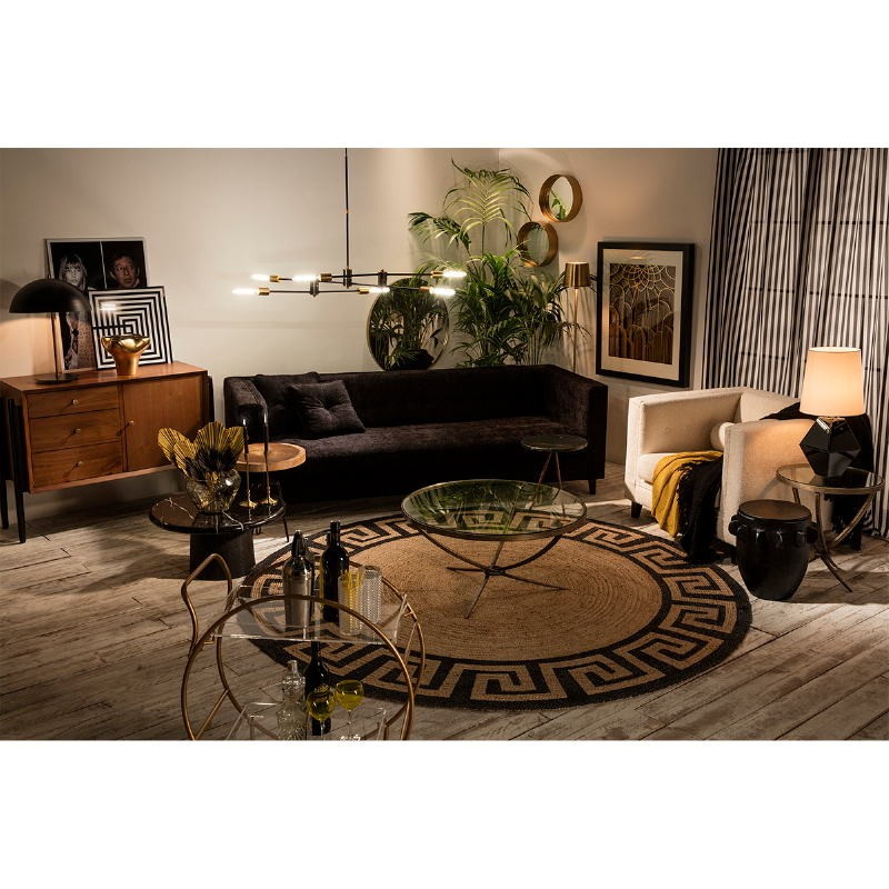Coffee Table 92X92X47 Glass Metal Golden Antique - image 51468