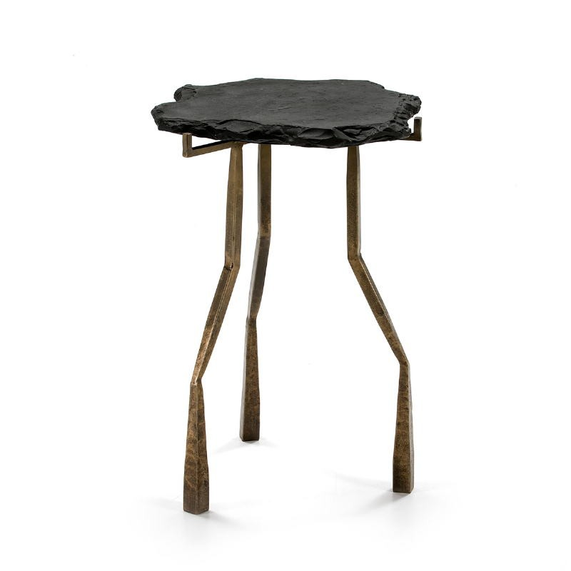 Side Table 49X46X65 Stone Black Metal Golden Antique - image 51473