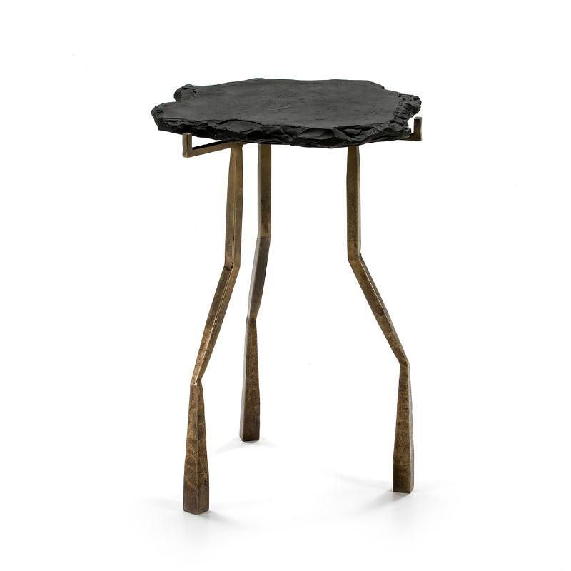 Table d'appoint, bout de canapé, bout de canapé 49x46x65 Pierre Noir Métal Doré Antique