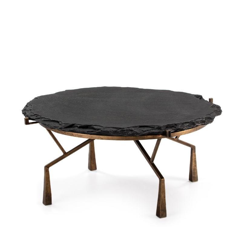 Coffee Table 95X95X41 Stone Black Metal Golden Antique - image 51476