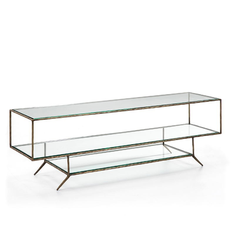 Mueble Tv 152X40X50 Cristal Metal Dorado